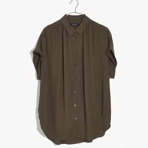 Madewell Central Shirt in Olive (Size S)